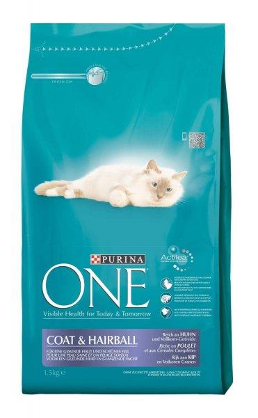 (Amazon Prime) 9Kg Katzenfutter Purina ONE 6x1,5 kg Coat & Hairball