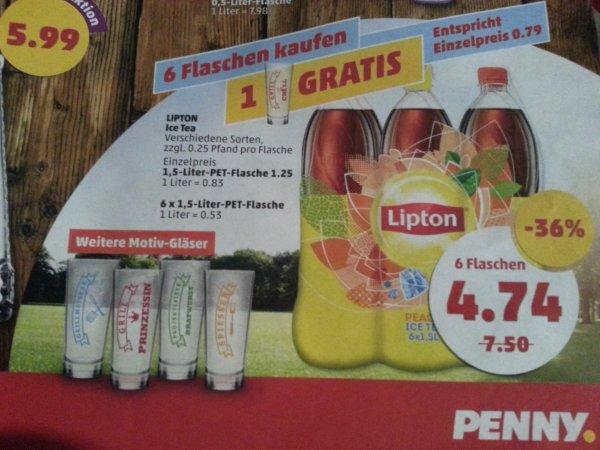Lipton Ice Tea 6 x 1,5 l Flaschen + Gratis Glas für 4,74€ @Penny