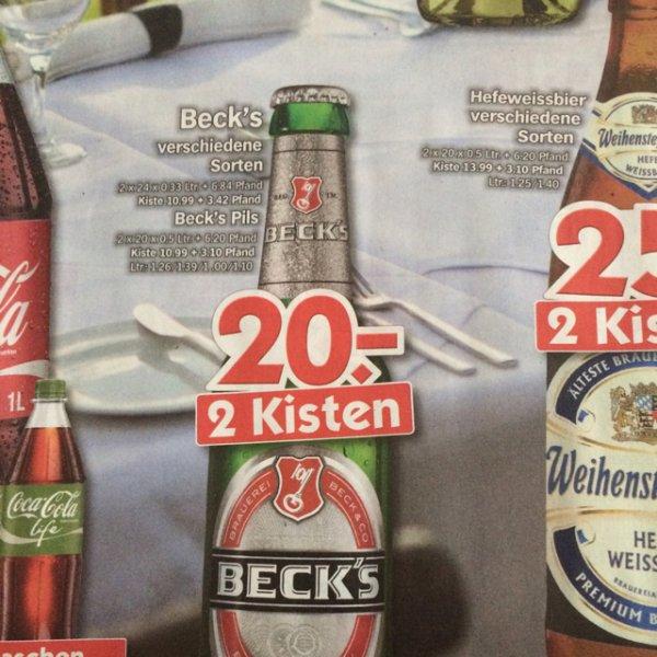 Beck's 2 Kisten für 20€ bei holab