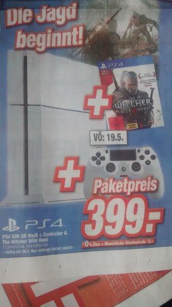 [lokal expert klein] PS4 500GB Weiß + Controller & The Witcher 3 für 399€