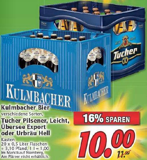 [MARKTKAUF Nordbayern] 5 Kisten Kulmbacher/Tucher für eff. 8,95€/8,84€ pro Kiste zzgl. Pfand. Deutschlandcard.