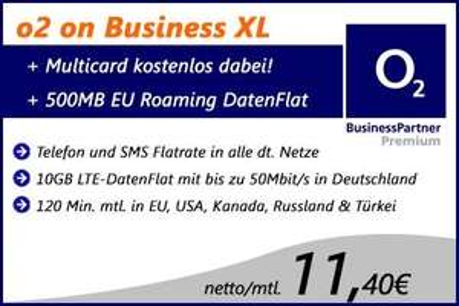 o2 on Business XL – (Geschäftskunden-Tarif) – Allnet-Flat / SMS-Flat / 10 GB bei 50,0 Mbit/s LTE: Netto 11,40€