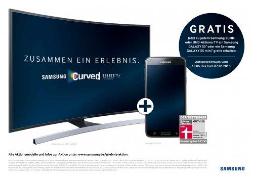[MediaMarkt] Samsung UHD TV mit gratis Galaxy S5 oder S5 mini + MediaMarkt Gutschein (bis 400€)