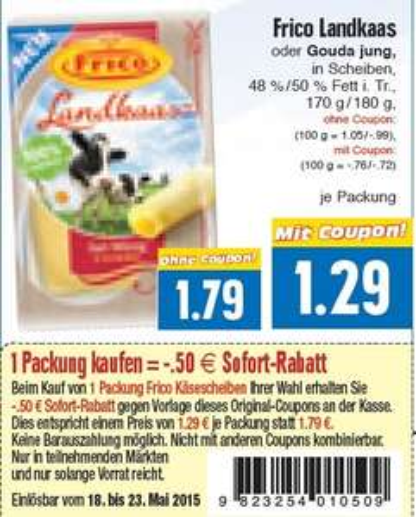 EDEKA HESSENRING Frico Landkaas oder Gouda jung für 1,29€ mit coupon im Angebot