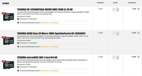 [Mediamarkt] TOSHIBA Micro SD-Speicherkarten 16GB für6€ 32Gb für10€ 64GB für19€