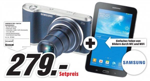 (Lokal Mediamarkt Essen] Samsung EK-GC200 Galaxy Camera 2 16,3 Megapixel Full HD Kompaktkamera, 21-fach optischer Zoom, 23 - 483 mm Brennweite, optischer Bildstabilisator, 1/2 + Samsung Galaxy Tab3 Lite für 279,-€