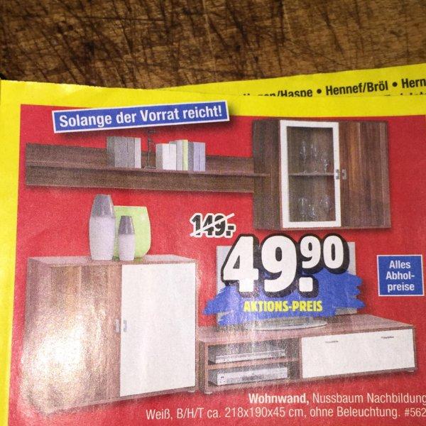 Wohnwand Nussbaum/Weiß bei Möbel Piraten für 49,90