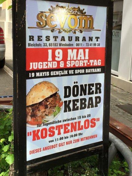 Gratis Döner für Jugendliche zwischen 15 u 25 [Wiesbaden Sevom]