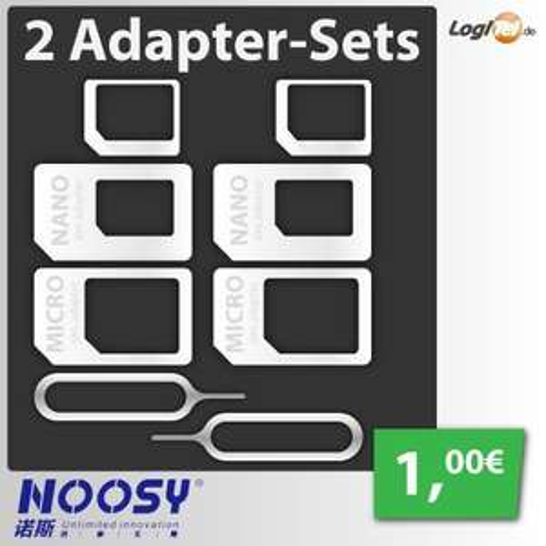 [Logitel @ eBay] 2 × Noosy SIM-Karten Adaptersets Nano-Micro-Mini für 1 €