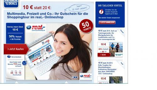 Payback Deals 20 € real-onlineshop Gutschein für 10 € Kaufen + 50 Payback Punkte