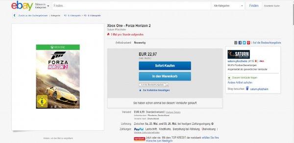 xbox one forza horizon 2 für 22,97€ ebay/Saturn Pforzheim