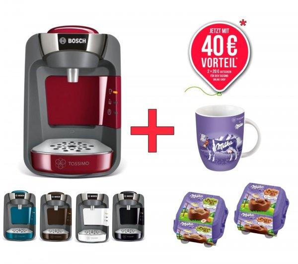 WOW Bosch TASSIMO SUNY +40€ Online Gutschein* + Milka Tasse + 2x Milka Löffelei @ebay