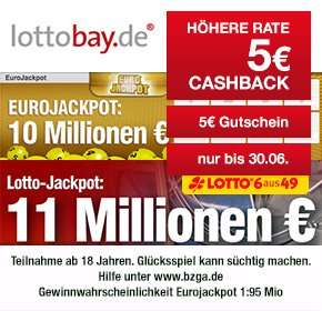 [QIPU]  5€ Cashback + 5€ Gutschein bei nur 12€ Mindestspieleinsatz @ Lottobay.de