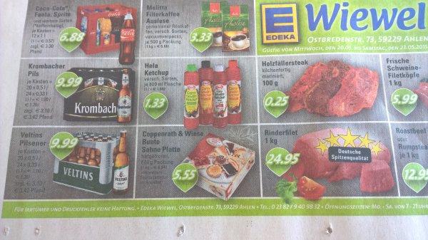 [lokal] Coca-Cola 12*1l 6,88€, HELA Ketchup 1,33€ Edeka Wiewel Ahlen,MS,Lüdinghausen