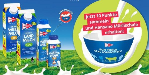 10x Hansano Milchprodukte kaufen und 1 gratis Müslischale erhalten