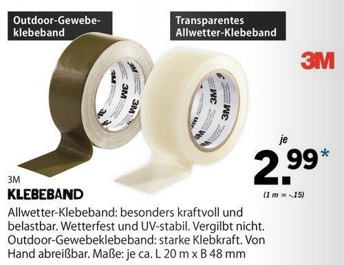 [Lidl Bundesweit) 3M Allwetter-Klebeband oder 3M Outdoor Gewebe-Klebeband (20Meter x 48mm) für je 2,99€..Ab 26.05