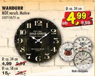 Sconto: Wanduhr vintage Look verschiedene Motive ca. 34 cm für 4,99 Euro