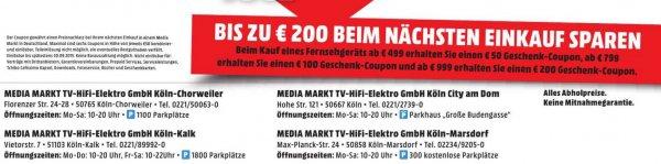 LOKAL MM Raum Köln: Beim Kauf eines TV's --> 200€ Coupon ab 999€ Einkauf, 100€ Coupon ab 799€ Einkauf, 50€ Coupon ab 499€ Einkauf  -  Einlösbar erst beim nächsten Einkauf