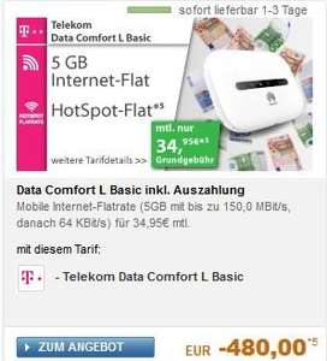 Telekom Data Comfort L Basic 5GB (LTE) mit Auszahlung -480 Euro / ca. 12,50 € monatlich