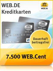 Kostenlose WEB.DE Kreditkarte (Barclays) und  zusätzlich 7.500 WEB.Cent (75,- Euro) erhalten