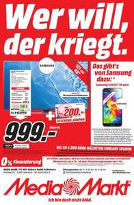 (Lokal Paderborn) Media Markt Samsung 4K- LED-TV UE 48 JU 6450 + 200 Euro Coupon + Galaxy S 5 mini = Gesamtersparnis über 400.- Euro