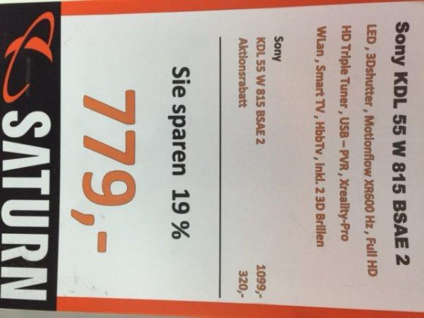 LOKAL BIELEFELD SONY KDL-55W815 für 779,00 €SATURN BIELEFELD