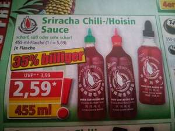 [Norma] Sriracha Chili-/Hoisin Sauce 455ml für 2,59€ [ab 26.05.]