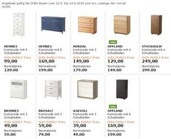 IKEA-Family-Aktion ab sofort Kommoden zum Sonderpreis [bundesweit?]