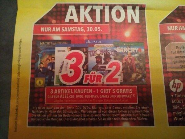 [medimax] 3 für 2 Aktion - gilt für ALLE CDs, DVDs, Blu-rays, Games und Software - nur am 30.05.