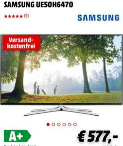 [Media Markt] Samsung UE50H6470, VSK-Frei für 577€ [effektiv: 527€) (Nächster Preis: 649€)