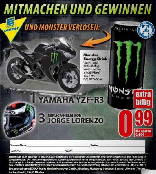 Monster Energy für 0,99 & Gewinnspiel Yamaha YZF-R3 @Edeka-Minden-Hannover