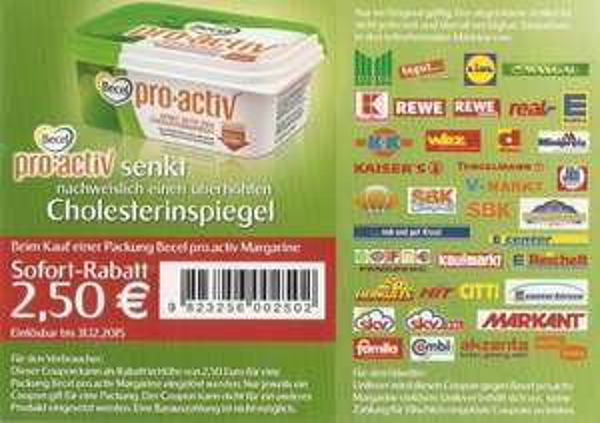 (Rewe Bundesweit) 250g-Packung Becel pro-activ GRATIS! (21 cent gewinn wird verrechnet!)