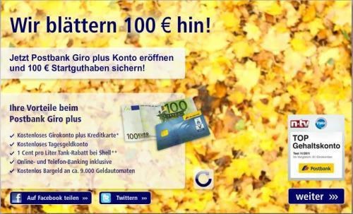 Postbank Happy Hour mal wieder! 100€ fürs Gehaltskonto.