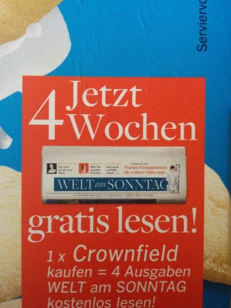 4x Welt am Sonntag mit einer Packung Crownfield Probe lesen