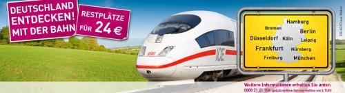 Dauerhaftes Restplatzangebot der Deutschen Bahn für 24 € - 7 Tage bis 1 Tag vor Abfahrt buchbar