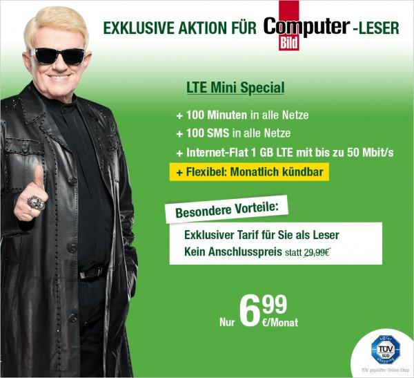 Computerbilf Aktionstarif (o2-Netz): 100 Minuten, 100 SMS, 1GB LTE 50 Mbit/s - 6,99 €/ Monat