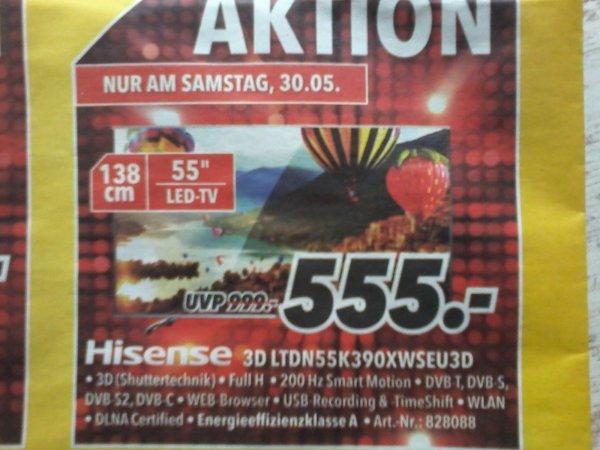 Hisense 3D 55K390   MEDIMAX   555€