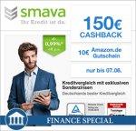 [Qipu] Smava: 1000 EUR-Kredit über 36 Monate zu 0,99% Zinsen p.a. (Gesamtkosten inkl. Gebühren 63,52€) + 150€ Cashback + 10€ Amazon Gutschein
