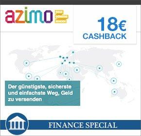 Azimo – Auslandsüberweisung mit nur 1€ Gebühren + 18€ Cashback