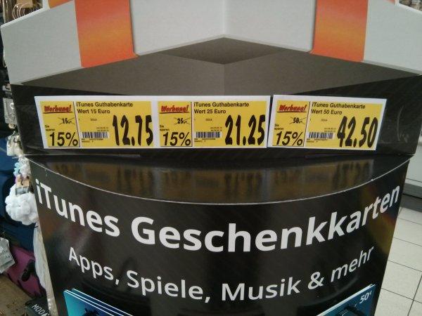 ITunes Gutscheinkarten  im Kaufland (15€, 25€ und 50€) jeweils 15% billiger (12,75€, 21,25€ und 42,50€)