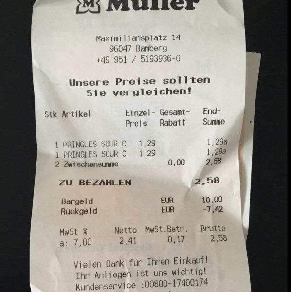 Lokal Bamberg Müller -- Pringles (versch. Sorten) für 1,29€
