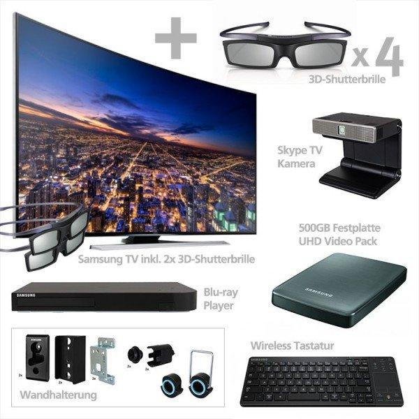 Samsung UE-55HU8290LXZG UHD-TV + Blu-Ray-Player, UHD-Festplatte mit Filmen, Wireless-Tastatur, Skype-Kamera, Wandhalterung, 6x 3D-Brillen - 1.699€ - Comtech