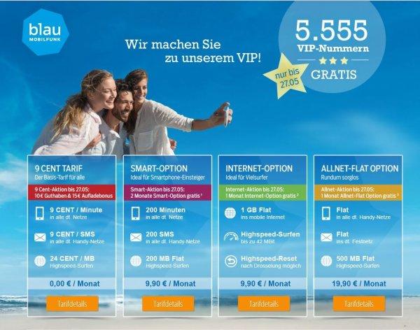 Wer sucht eine halbwegs gute Handynummer? Blau.de vergibt 5555 VIP Nummern ohne Aufpreis 9,90 € bei 10 € Startguthaben