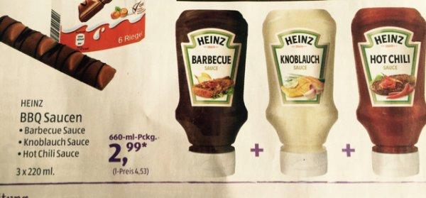 Aldi Süd, Heinz Barbecue-, Knoblauch- und Hot Chili-Sauce für zusammen 2,99 € ab Sa 6.06.!