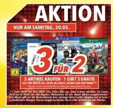 [Lokal Süd-Ost] 3 für 2 Aktion (Filme, Spiele, CDs, Software) @ Medimax