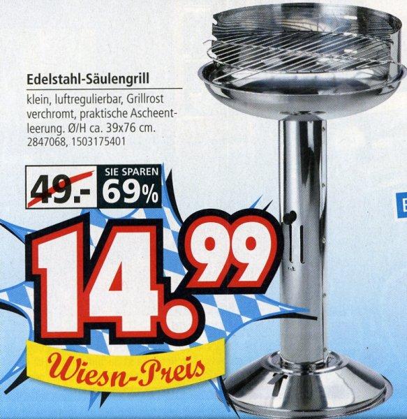 Segmüller - Edelstahl-Säulengrill für € 14,99 statt € 49,- - 69 % gespart