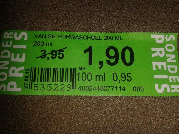 Rossmann ( Hagenow) Vanish Vorwaschgel Green Label
