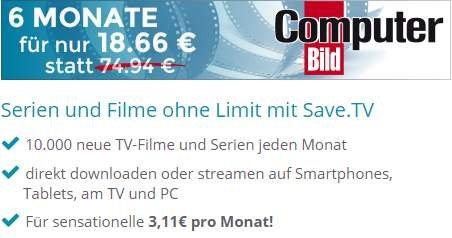 6 Monate Save.tv XL für 18,66€ - Online Videorecorder (inklusive Streaming)