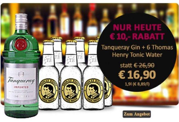 2x Tanqueray Gin + 12x Thomas Henry Tonic für 33.80€ bei Gourmondo