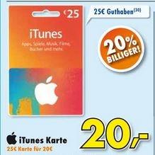 [Euronics XXL Delbrück] 25,00 € iTunes Guthaben für 20,00 €